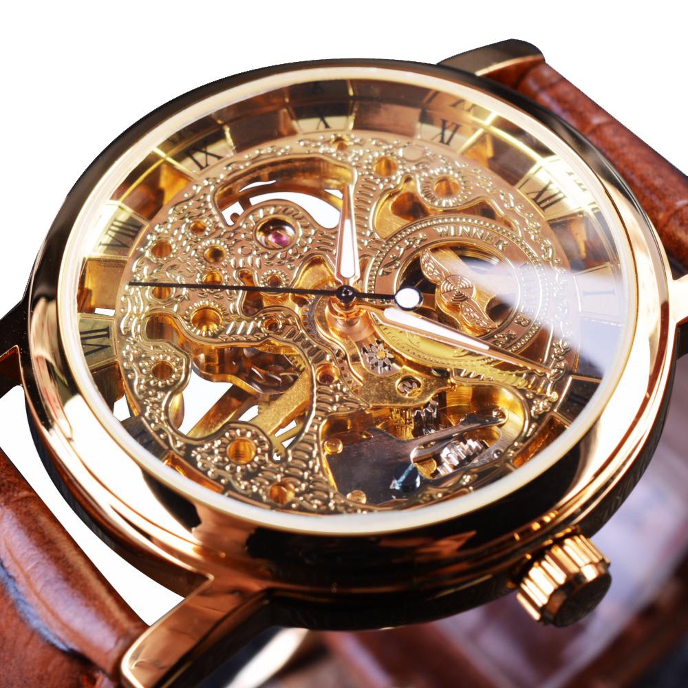 8c85ef6ae51 Pánské automatické hodinky VISCOUNT hnědé empty